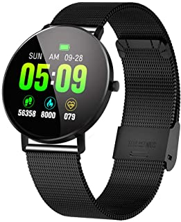 F25 Smart Bracelet Fitness with Step Pedometer Distance Calories Sleep Monitor Sedentary Information Reminder Call Alert Music Intensity Control with Steel Strap