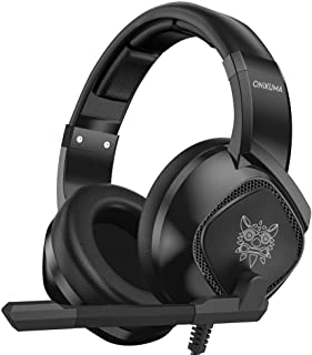ONIKUMA K19 3.5mm Wired Gaming Headset Over Ear Headphones Noise Canceling E-Sport Earphone with Mic LED Lights Volume Control Mute Mic for PC Laptop PS4 Smart Phone