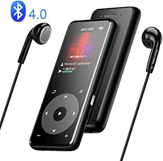 AGPTEK Bluetooth 4.0 MP3 Player with Built-in Speaker & Headphone Portable 8GB Lossless Sound A16T Music Player Metal Texture Support up to 128GB Multifunctional MP3 Indoor Outdoor Black