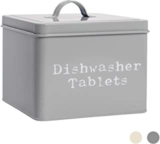 Harbour Housewares Industrial Dishwasher Tablet Storage Tin - Vintage Style Steel Kitchen Storage Caddy with Lid - Grey