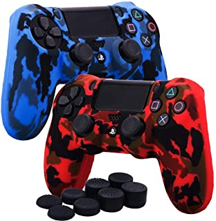 Kono Water Transfer Printing Camouflage Silicone Cover Skin Case for Sony PS4/slim/Pro Dualshock 4 controller x 2(red+blue) With Pro thumb grips x 8