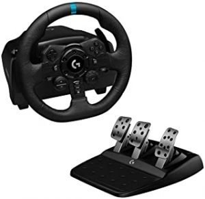 Logitech G923 Racing Wheel and Pedals for Playstation 4 and PC featuring TRUEFORCE up to 1000 Hz Force Feedback