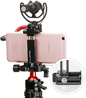 Ulanzi ST-03 Metal Smart Phone Tripod Mount with Cold Shoe Mount and Arca-Style Quick Release Plate for iPhone Xs Xs Max X 8 7 Plus Samsung
