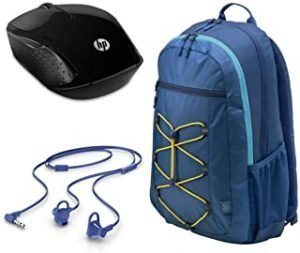 HP 15.6 Active Blue/Yellow Backpack + HP 200 Black Wireless Mouse + HP In-Ear Headset 150 (Marine Blue) With Microphone