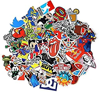 Beauenty for 100PCS Stickers Decals Vinyls for Laptop Kids Cars Motorcycle Bicycle Skateboard Luggage Bumper Stickers Hippie Decals bomb Waterproof(Not Random)