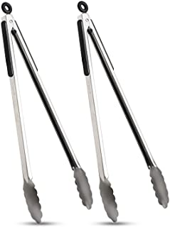 VOXLOVA Premium Locking Grill Tongs Set of 2-16 inch Heavy Duty Long Kitchen BBQ Tongs for Barbecue Cooking Grilling