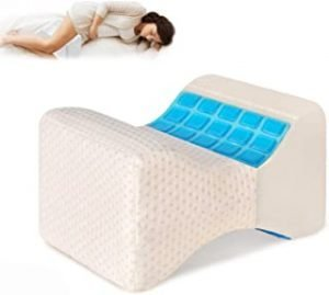 Gluckluz Knee Pillow with Cooling Gel Leg Pillow Wedge Memory Foam Pillows for Side Sleepers Contour Leg Support for Surgery Joint Hip Back Pain Sciatica Pregnancy with Washable Cover (White)