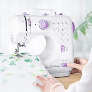 Sewing Machine Mini Electric Household HOMEOW Potable Sewing Machine w/Foot Pedal LED Light Overlock 12 Sewing Patterns Reverse Stitch support AC Adapter AA Battery Dual Drive for Amateurs Beginners