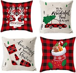 Throw Pillow Covers Thanksgiving Christmas Decoration Sofa Linen Pillow Case Home Decor Gifts Autumn Deer Snowflake Xmas Trees 4PC(18 x 18 in)