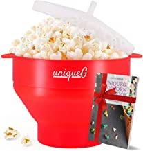 Original uniqueG Microwave Popcorn Maker | BONUS GIFT : uniqueG popcorn Gift E-book | 100% Silicone Popcorn popper | Hot Air Popcorn Machine | Collapsible Healthy Popcorn Bowl | FDA Approved. (Red)