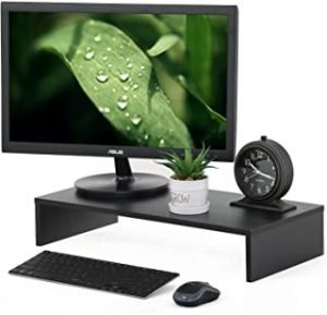 FITUEYES Monitor Stand Wood PC Laptop TV Screen Riser Desk with Keyboard Storage Space 54 x 25.5cm Black DT105401WB