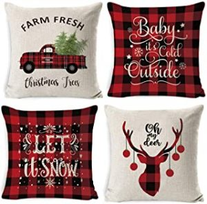 4 pack Throw Pillow Covers Thanksgiving Christmas Decoration Sofa Linen Pillow Case Winter Home Decor Gifts Autumn Deer Snowflake Xmas Trees (18 x 18 In)
