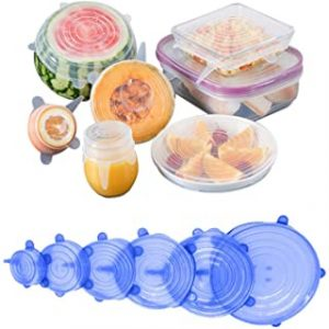 Solider 6 Pack Silicone Stretch Lids Silicone Stretch Fresh Food Cover BPA-Free Stretch Lid Various Sizes Stack able Reusable Flexible to Fit All Shape of Containers(Blue)
