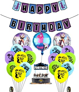 Beauenty 23PCS Fortnite Video Game Happy Birthday Party Supplies Favors Foil Latex Balloons Decorations for Adults Girls and Kids