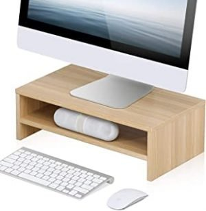 FITUEYES 2 Tiers Monitor Riser Stand fit PC Laptop LCD LED TV Screen Desktop Organizer in Home Office & School Use