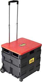 dbest products Quik Cart Two-Wheeled Collapsible Handcart with Yellow Lid Rolling Utility with seat Heavy Duty Lightweight 01-681