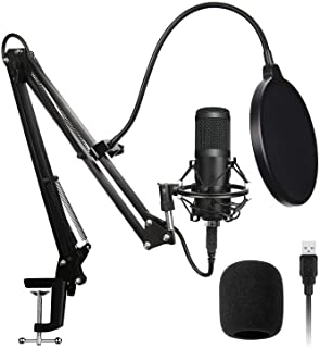 AADPLYA USB Microphone Kit 192KHZ/24BIT Plug & Play Condenser Computer Cardioid Mic with Professional Sound Chip Set Ideal for Podcast