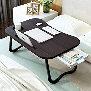 Foldable Large Laptop Desk Multi-Function Laptop Bed Table Stand with Storage Drawer Cup Holder Black