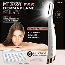 Finishing Touch Flawless Dermaplane Glo Lighted Facial Exfoliator - Non-Vibrating Facial Exfoliator & Hair Remover With 6 Replacement Heads For women