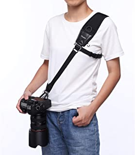 Nicama CS1 Rapid Action Camera Shoulder Neck Sling Strap with A Secure strap & Neoprene/Vintage Leather Shoulder Pad for Canon EOS Nikon Sony Olympus Pentax & Panasonic DSLR & Mirrorless Cameras
