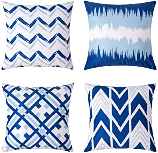 MIULEE Pack of 4 Decorative Throw Pillow Covers Modern Cotton Square Cushion Case Set Wave Printed Pillowcases for Sofa Couch Bed 18x18 Inch