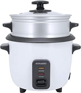 Sonashi 0.6 Ltr Rice Cooker With Food Steamer SRC-306