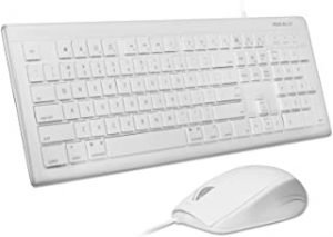 Macally 104 Key USB Wired Keyboard with Apple Shortcut Keys and 3 Button USB Optical Mouse Combo for Mac and Windows PC (MKEYECOMBO) white MKEYECOMBO