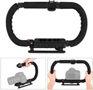 Foldable C Shaped Handheld Action Stabilizer Grip Flash Bracket Holder with Cold Shoes Non-Slip Sponge Handle Professional Video Accessories for DSLR DV Camera Camcorder Smartphones