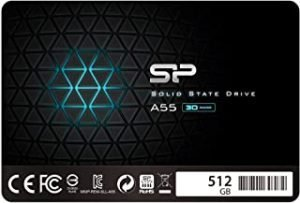 "Silicon Power SSD 512GB 3D NAND A55 SLC Cache Performance Boost 2.5 inch SATA III 7mm (0.28"") Internal Solid State Drive"