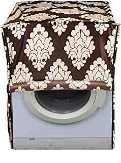 Kuber Industries Leaf Design Cotton Front Load Fully Automatic Washing Machine Cover - Brown