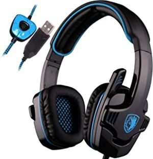 SADES SA901 Over Ear USB Wired 7.1 Surround Noise Cancelling PC Gaming Headset with Microphone - Black/Blue (Electronic Games)
