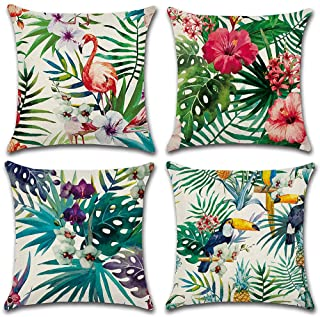 AKPOWER Spring Tropical Plant Flowers Leaf Flamingo Decorative Throw Pillow Case Cushion Cover 18 x 18 inches 45 x 45 cm Set of 4
