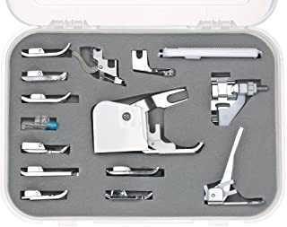 15pcs Professional Sewing Machine Presser Walking Feet Kit Compatible Set for Low Shank Sewing Machine(For Brother/Babylock/New Home/Singer/Pfaff/Janome/etc.)