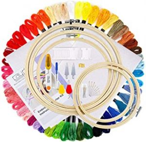 DAYONG Embroidery DIY Sewing Starter Kit Including Instructions 5 Pieces Bamboo Embroidery Hoops 50 Color Threads 2 Pieces Aida Cloth Circular Packing Bag and Cross Stitch Tool Kit for Beginners