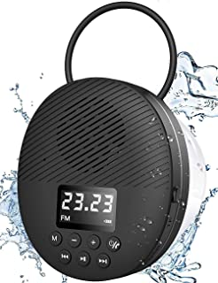 AGPTEK Bluetooth 5.0 Shower Radio Speaker Hands-free Waterproof Shower Speaker for Pool Beach Travel Outdoor Wireless Bathroom FM with LCD Screen Display Portable Bluetooth Speaker with Suction Cup