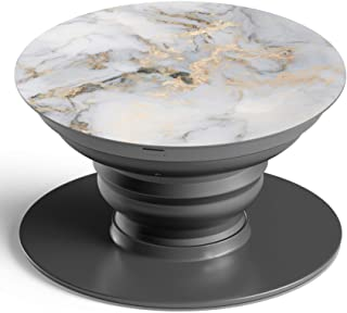 Pop Out Socket Collapsible Phone Grip Stand & Mount Holder for Smart Phones Mobile and Tablets - WHITE MARBLE