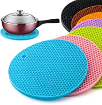 6pcs 18CM Round Hot Coaster Heat Resistant Silicone Mat Drink Cup Coasters Non-slip Pot Holder Table Placemat Kitchen Tool