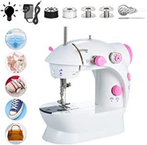 Mini Sewing Machine Adjustable 2-Speed Double Thread Portable Electric Household Multifunction Sewing Machin with Lights and Cutter Foot Pedal for Household Travel Beginner DIY Face face cover