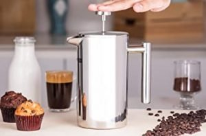 RoyalFord RFU9015 Cafetiere Stainless Steel Portable French Press Coffee Maker   Leak Resistant Double Walled Insulation   Hot Coffee for Hours – Preserves Flavour and Freshness (Silver