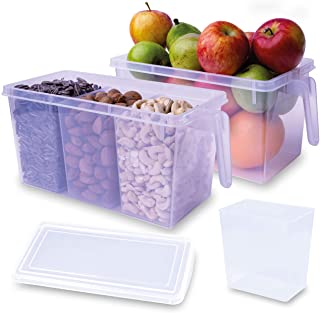 iumano Set of 2 Kitchen Oragnizer Storage Containers with 6 removable compartments