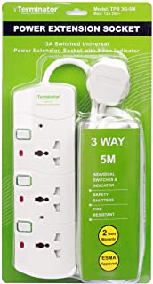 Terminator 3 way Universal Power Extension Socket