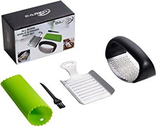 DARKO GT All in One Garlic Ginger Prep Set - Stainless Steel Mincer & Crusher With Silicone Roller Peeler - Easy Squeeze