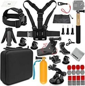 Gurmoir 15in1 Full Action Camera Accessories Outdoor Climbing Hiking Action Camera Kit for GoPro Hero 9/8/7/6/5/4Session5/4/AKASO/DJI Osmo Action/SJCAM/APEMAN and More Action Cameras(AT03)