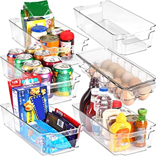 Set of 6 Refrigerator Pantry Organizers-Includes 6 Organizers (5 Drawers & 1 Egg Holding Tray)-Stackable Organizers for Freezers