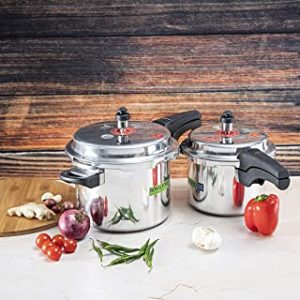 Royalford 5 & 3 Litre Aluminum Pressure Cooker - Comfortable Handle Evenly Heating Cooker | Portable & Compact Design | Perfect for Chicken