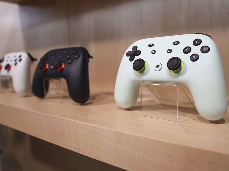 The new Google Stadia gaming system controller is displayed during a Google launch event on October 15