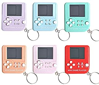 ST-JK-Learning Machines - Tetris Game Console Mini Handheld Game Console Keychain Gift Car Pendant Logo Customizable (Macarons Color)