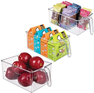 mDesign Plastic Kitchen Pantry Cabinet Fridge Refrigerator Storage Organizer Bin Holders with Handle - Organizers for Cans