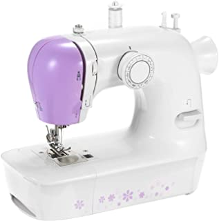 Mini Sewing Machine with 12 Stitches Portable Multi-function Electric Sewing Machine 2-Speed Reverse Sewing Foot Control Work Light for Beginners Kids DIY Home Decoration