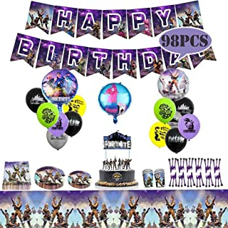 Fadesun Video Game Birthday Party Supplies and Decorations|Happy Birthday Banner|Cake Topper|Cake Cutter|Napkins|Plates|Cups|Utensils|Table Cloth |Latex Party Balloons|Foil Balloons/Game Party Favor